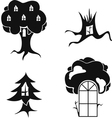 Stylized image of trees with windows and doors vector