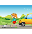 A girl with a dog walking along the street vector