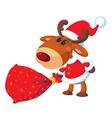 Deer santa with bag vector