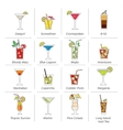 Alcohol cocktails icons flat line vector