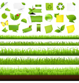 Big nature set with grass border vector