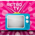 Retro blue television tv on abstract pink backgrou vector