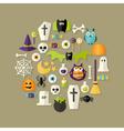 Halloween flat icons set over light brown vector