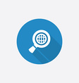 Search globe flat blue simple icon with long vector