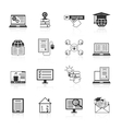 Online education icons black vector