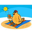 Chicken on the beach cartoon vector