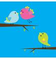 Three cartoon birds card vector