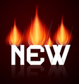 New burning title in flames vector