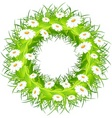 Round wreath of flowers green leaves on white back vector