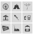 Black carnival icons set vector