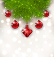 Christmas composition with fir twigs and red glass vector