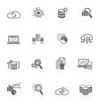 Database analytics icons black vector