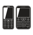 Modern mobile set phone with qwerty keyboard black vector