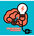 Wire the world creative brain icon with light bulb vector