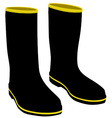 Black rubber boots vector