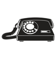 Old telephone 60-80s black and white vector