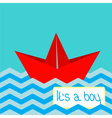 Baby boy shower card with red paper boat vector