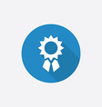 Achievement flat blue simple icon with long shadow vector