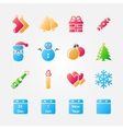 Bright set of christmas icons vector