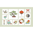 Chinese hand drawn icon set vector