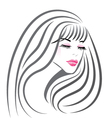 Beautiful girl face silhouette vector