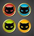 Black cat head icons vector