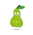 Green funny and smiling pear with eyes and mouth vector