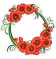 Floral frame with red poppies and green swirls vector