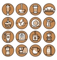 Coffee icons brown line set vector