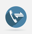 Incoming and outgoing call circle blue icon with vector