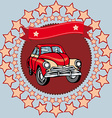 Red vintage car on a gray background with stars vector