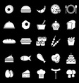 Food icons on black background vector