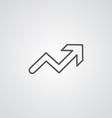 Arrow up outline symbol dark on white background vector