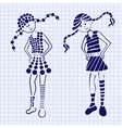 Drawn ink girl on the notebook sheet vector