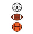 Sport balls soccerfootball basketball vector