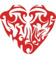 Tribal red heart tattoo vector
