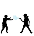 Kids playing with water gun vector