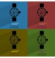 Color set watchclock flat modern web button with vector