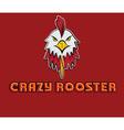 Head of crazy rooster vector