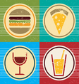 Colorful grunge set of food and drink icons vector