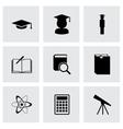Black education icon set vector