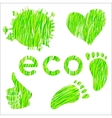 Set of icons with green grass texture environment vector