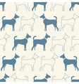 Cute doodle seamless pattern of dog silhouettes vector