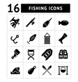 Set icons of fishing vector