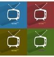 Color set retro tv flat modern web button with vector