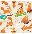 Seamless pattern with little cute foxes vector