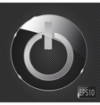 Glass power button icon on metal background vector