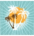 Summer background with grunge beach palms vector