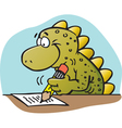 Cartoon dinosaur writing vector