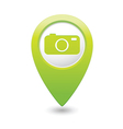 Camera icon on map pointer green vector